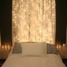Star lit curtain behind the head board