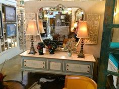 "Large Painted French Console With Mirror   71"" Wide x 19.5"" Deep x 29"" High   Attached Mirror is 48"" High   $945  Grace Designs Booth #333  City View Antique Mall  6830 Walling Lane Dalla French Country Furniture, Country French, Painted Furniture, Liquor Cabinet, Mall, Console, Buy And Sell, Deep, Mirror"