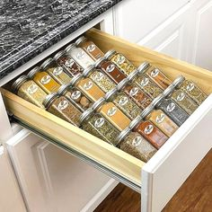 $19.99 · Lynk Professional Medium Spice Rack Tray Drawer Insert Silver - The Spice Rack Tray Drawer Insert organizes all your spices, essential oils, vitamins, nail polish, herbs, medicine, and more. Durable construction with 4 tiers that looks beautiful in kitchen drawers, on pantry shelves and kitchen countertops. #kitchendrawer #kitcendecor