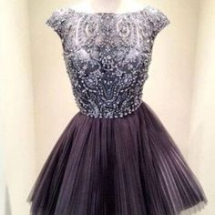 High neck gray homecoming dresses,beaded custom made cheap short prom dresses,wedding party dress