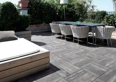 ICON outdoor 20mm paver, made from porcelain to replicate recycled wood