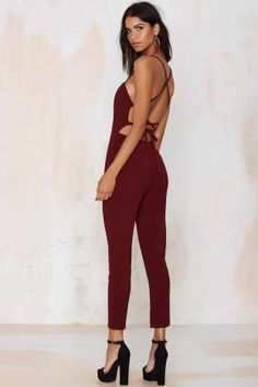 Raquel Cross-Back Jumpsuit - Wine | Shop Clothes at Nasty Gal!