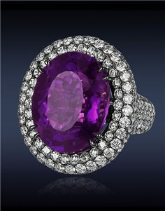 Amethyst Diamond Ring with 17.59cts Oval Amethyst Center to 6.92cts Pave Set White Diamonds (182 Stones) on Gallery and Shank. 18K. Jacob &Co