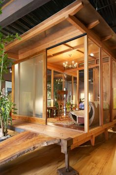 A Cabin that Embraces Nature :: A beautiful 160 square foot structure made from locally-sourced timber and glass inspired by the 19th century Japanese house at the Huntington Gardens in Pasadena. Designer/builder Patrick Lang, Artist Tina Hulett, entrepreneur Kristopher Moller and Craftsman Ryan Hattig, who together make up the WildFarm Collaborative http://wildfarm.org/