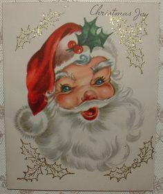 Glittered - Santa Claus - 1950's Vintage Christmas Greeting Card