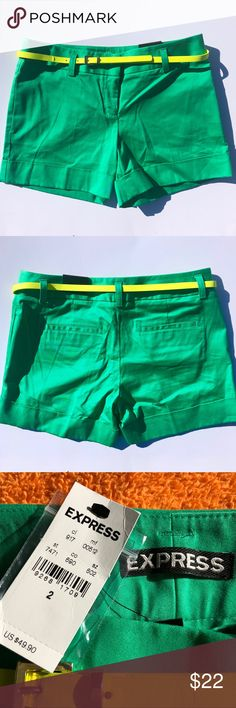 "Express Green cotton shorts with belt size 2 NWT Express Green Shorts with yellow belt. NWT. Perfect condition. Spare button included. Zipper, button, hook and eye closure. 99% cotton, 1% Spandex.  Measurements (approx): 30"" waist, 12"" length. 8.5"" rise.  BUNDLE SPECIAL: 15% off 3 or more items from my closet! Express Shorts Skorts"