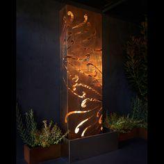 Copper Water Feature, Copper Light Feature Panel Designs http://lump.com.au/portfolio-items/copper-waratah-water-feature/