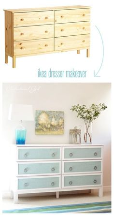 Ikea dresser makeover with blue burlap panels Facades de tiroirs recouvertes de tissu