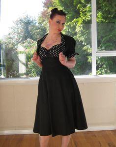 Black Rockabilly 'Esme' dress with polka dots  by PixiePocket, $150.00