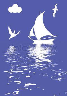 Stock vector of 'vector illustration sailboat in ocean'