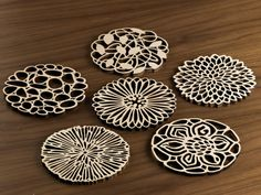 Hardwood Graphic Coasters The Garden Party by FivePlyDesign Modern Coasters, Wood Coasters, Womens Fashion Online, Latest Fashion For Women, Laser Cutter Projects, Food Storage Boxes, Edging Ideas, Things Under A Microscope, Stainless Steel Types