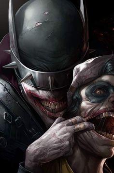 """""""BATMAN QUE RÍE"""" Es una combinación entre el caballero de la noche con el Joker. Contará con su propio grupo de oscuros Robins que lo ayudarán en sus perversos planes."""