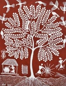 Red warli Traditional Art by Sanjay Parhad on Cloth, Lifestyle based on theme Sanjay Parhad Madhubani Art, Madhubani Painting, Kalamkari Painting, Art Indien, Worli Painting, Art Tribal, Pottery Painting Designs, Indian Folk Art, Indian Art Paintings