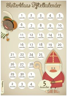Sinterklaas aftelkalender: de 9 leukste op een rij! • Badschuim Christmas Holidays, Christmas Decorations, Saint Nicolas, Countdown Calendar, The 5th Of November, December, Cute Diys, Family Posing, Kids And Parenting