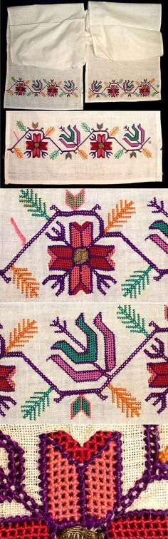 An 'uçkur' (sash / waist band), generally worn by women. From the rural Sakarya region (north of Bilecik), Stylized vegetable motifs. Open work embroidery with polychrome silk on cotton. Hungarian Embroidery, Folk Embroidery, Cross Stitch Embroidery, Embroidery Patterns, Cross Stitch Borders, Cross Stitch Patterns, Bargello, Embroidery Techniques, Chain Stitch