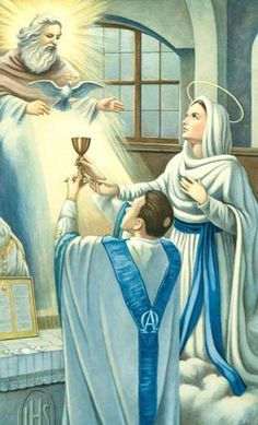 The Blessed Virgin Mary, Mother of the Eucharist + Catholic Mass, Catholic Saints, Roman Catholic, Blessed Mother Mary, Blessed Virgin Mary, Religious Pictures, Religious Art, Images Du Christ, Queen Of Heaven