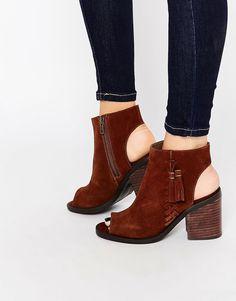 Image 1 ofNew Look Premium Suede Tassel Peep Toe Boot