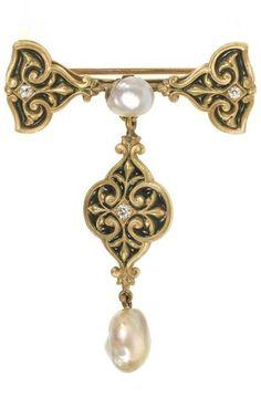 René Lalique - A Renaissance Revival gold, enamel, baroque pearl and diamond brooch, Paris, 1895-97. 5.8 x 4.1cm. #Lalique #RenaissanceRevival #brooch