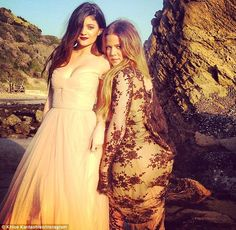 Time for a selfie: Khloe Kardashian and her sister Kylie Jenenr found time on the shoot to get a quick snap of themselves taken