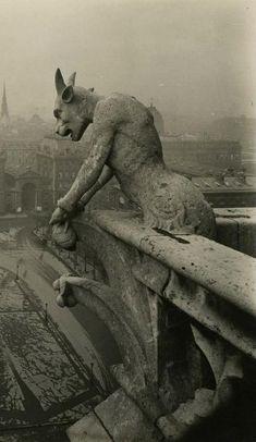 [Jean] Pierre Yves-Petit, aka YVON :: Gargoyle at Notre Dame, Paris, ca. 1910