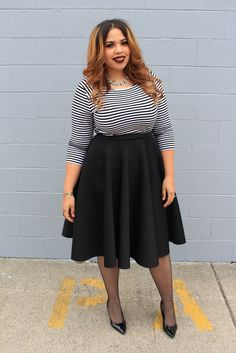 Plus Size Fashion Blogger Telly Loves Fashion wearing Fashion To Figures Circle Midi Skirt (Available in black, blue and coral)(Pretty Top Fall Fashions)