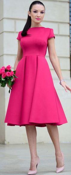 Fuchsia Midi Dress Holiday Style Inspo by My Silk Fairytale