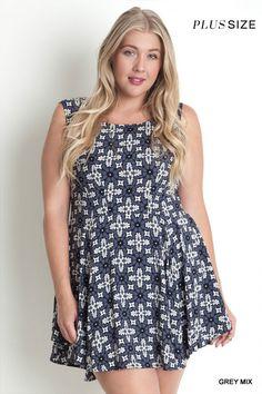 Printed A Line Dress - Grey Mix - Curvy