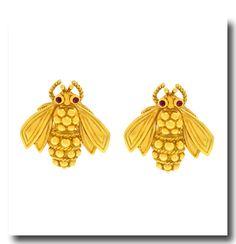 Inv. #17212  Tiffany & Co. Gold Bee Earrings 18k c1970s American