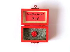 Wood Box, Love You Mum, Custom Gift, Handpainted Trunk, Treasure Chest, Wedding Favor, Personalized