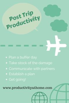 Post Trip Productivity - 5 Steps To Transition Back To Work http://productivityathome.typepad.com/my_weblog/2014/08/post-trip-productivity-5-steps-to-transition-back-to-work.html