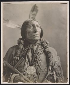 1 photographic print mounted on paper : gelatin silver developing-out paper print ; photo 42.9 x 35.3 cm, on mount 43.7 x 36.1 cm. | Photo shows Wolf Robe (1838-1841 to 1910), the Southern Cheyenne chief sometimes believed to be the man whose profile was used on the Indian-head nickel. Here he is wearing a round silver Benjamin Harrison peace medal, which he received from the federal government in 1890 for assisting the Cherokee Commission in negotiations for disposal of land. The Gerhard…