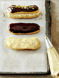 eclairs with pistachio cream http://www.styleathome.com/food-and-entertaining/recipes/recipe-eclairs-with-pistachio-cream/a/55033