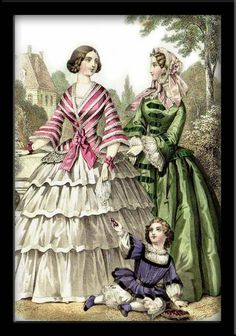 Crinoline, 1855.  Both women appear to be wearing day dresses with funnel sleeves and white lingerie sleeves, crinoline hoop skirts, and jacket bodices. The woman in green is wearing a bonnet and fichu down the front of her gown. The child in the photo appears to be wearing knickerbockers.