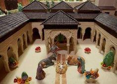 Nativity scene of chocolate. Alhambra represented