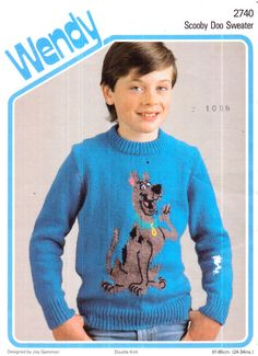 Genuine Vintage Wendy 2740 FUNKY Childrens Teens SCOOBY DOO Large Motif Sweater by Joy Gammon Knitting Pattern
