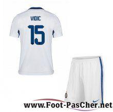 Maillot Foot Inter Milan Blanc Enfant VIDIC 15 Exterieur 15 2016 2017 Pas Chere