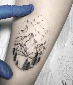 23 Remarkable Mountain Tattoos - New Ideas Geometric Mountain Tattoo, Mountain Sleeve Tattoo, Geometric Tattoo Forearm, Geometric Line Tattoo, Geometric Tattoo Pattern, Triangle Tattoos, Tattoo Abstract, Dreieckiges Tattoos, Star Tattoos