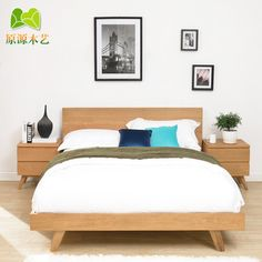 Buy Solid wood bed modern Japanese Mediterranean minimalist Scandinavian style furniture 1.8 m bed Ash Double Oak Bed in Cheap Price on m.alibaba.com