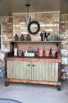 Potting bench with doors to hide clutter.