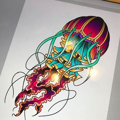 Got this colorful little #jellyfish up for grabs! Would look great on a forearm or a calf. - http://ift.tt/1HQJd81