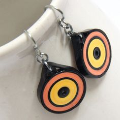 Save 30 Eco Friendly Earrings Neon Yellow Orange and di HoneysHive