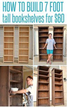 141 DIY Bookshelf Plans & Ideas to Organize Your Homesteading Books - Need a place to organize your books? Here's a collection of 51 DIY bookshelf/bookcase plans and i - bookshelf plans How To Make Bookshelves, Diy Bookshelf Plans, Tall Bookshelves, Bookshelf Design, Small Bookshelf, Book Shelves, Short Bookshelf, Nursery Bookshelf, Creative Bookshelves