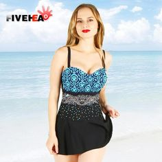 d43c6b659b MAMAMIA women swimwear plus size swimsuit skirt big size L-4XL swimming  costume large push