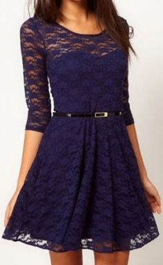 Navy Lace Skater Dress....I haven't decided about that belt yet