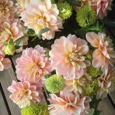 """'Sheer Heaven' one of my favourite dahlia varieties by antoniovalenteflowers. With lime zinnias."