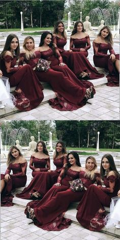Mermaid Off-the-Shoulder Long Sleeves Burgundy Bridesmaid Dress Meerjungfrau off-the-Schulter langen Ärmeln Burgund Brautjungfer Kleid Discount Bridesmaid Dresses, Elegant Bridesmaid Dresses, Gold Prom Dresses, Mermaid Prom Dresses, Cheap Prom Dresses, Homecoming Dresses, Wedding Dresses, Bridesmaids, Wedding Bridesmaid Dresses