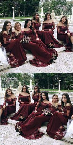 Mermaid Off-the-Shoulder Long Sleeves Burgundy Bridesmaid Dress Meerjungfrau off-the-Schulter langen Ärmeln Burgund Brautjungfer Kleid Discount Bridesmaid Dresses, Elegant Bridesmaid Dresses, Gold Prom Dresses, Mermaid Prom Dresses, Cheap Prom Dresses, Bridesmaids, Long Dresses, Dresses Uk, White Prom Dresses