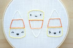 DIY • Free Happy Candy Corn Embroidery Pattern - super cute Kawaii-style candy corn to get you in the mood for fall and Halloween!