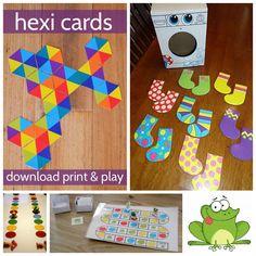 jeux à imprimer                                                                                                                                                      Plus Math School, School Games, School Classroom, Motor Skills Activities, Toddler Activities, Hexagon Game, Kid Essentials, Busy Bags, Best Teacher