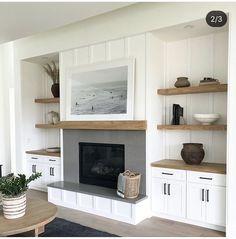 Built In Shelves Living Room, Living Room Remodel, New Living Room, Home And Living, Living Room Decor, Fireplace Built Ins, Home Fireplace, Living Room With Fireplace, Fireplace Design